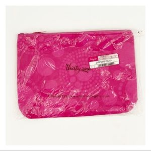 Thirty One Zipper Pouch Pink Circle Spiral NWT